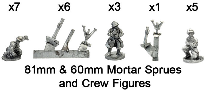 The French 60mm & 81mm Mortars with Crew Figures