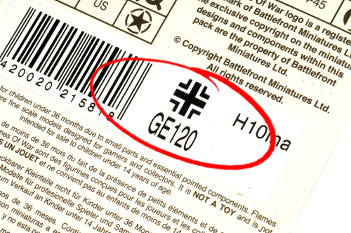 Example of the product code on the back of a blister pack
