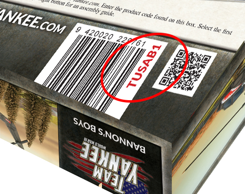 Example of the product code on the back of the box set