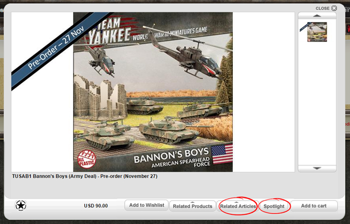 The product code entered into the search box found on the Team Yankee website