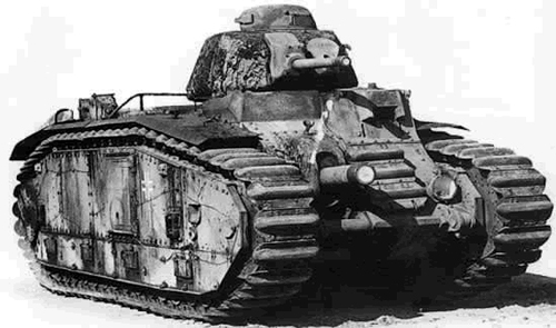 An captured Char B bis in German service with the standard French cupola