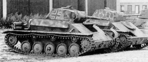 Beutepanzer T-70's with a camouflage paint scheme.