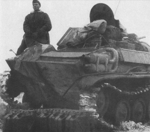 T-70 using a flag that's tied down on the rear panel of tank.