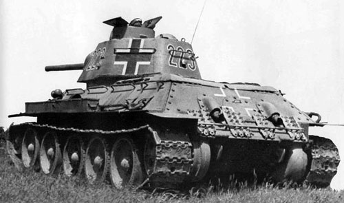 T-34 mod 1942/43 using a three-digit number on the side (Frontal section) of the turret & on the rear panel of the turret.