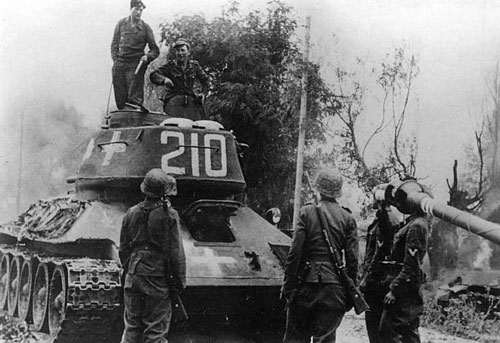 T-34/85 using a three-digit number on the rear panel of the turret.