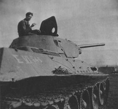 T-34 mod 1941/42 using an E-Mark number on the side (Rear section) of the tank.
