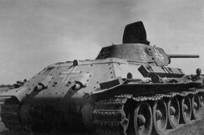 T-34 mod 1941/42 using a German Cross on the side (Front section) of the turret, and on the rear panel of the tank.