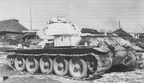 T-34 mod 1941/42 using a German Cross on the side (Front section) of the turret, and on the rear panel of the turret.
