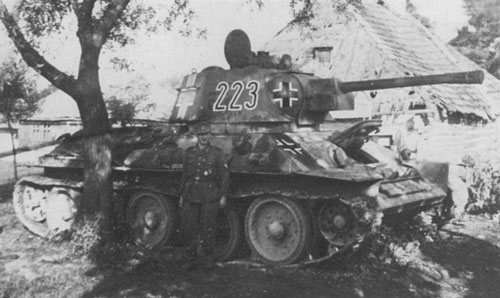 T-34 mod 1942/43 using a German Cross on the side (Front section) of the turret, on the side (Rear section) of the turret & on the front panel of the tank.