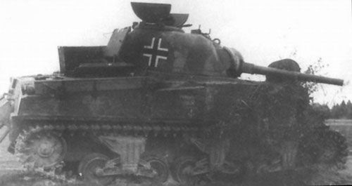 M4 Sherman using a German Cross on the side (Rear section) of the turret.