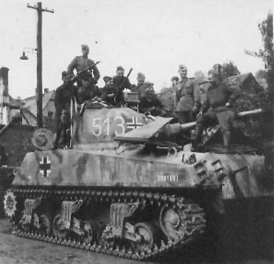 M4 Sherman using a German Cross on the side (Front section) of the turret & on the side (Front section) of the tank.