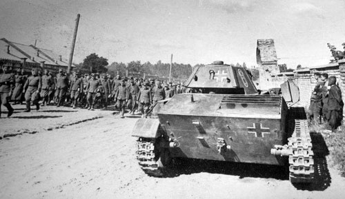 T-70 using a German Cross on the rear panel of the turret & on the rear panel of the tank.