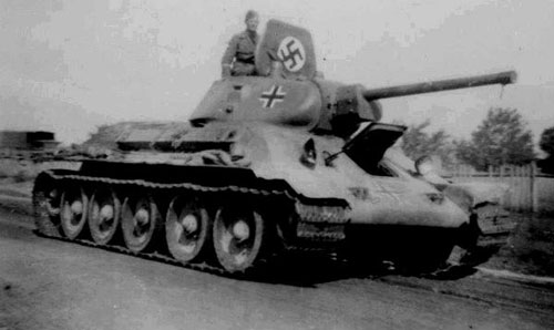 T-34 mod 1941/42 using a standard German Cross.