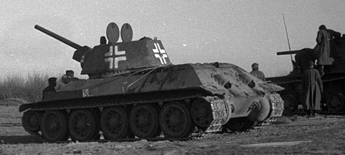 T-34 mod 1942/43 using German Crosses painted only with white.