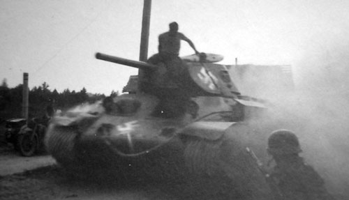 T-34 mod 1941/42 using Swastika's painted only with white.