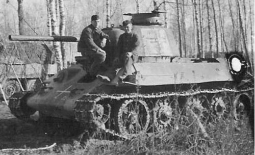 T-34 mod 1942/43 using a black German Cross painted on a white square background.