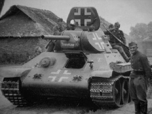 T-34 mod 1941/42 with some writing on the bottom of the turret.