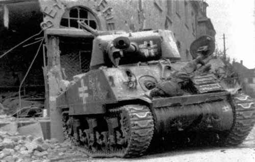 "M4 Sherman with some writing on the side (Front section) of the tank. ""Beute Panzer"" ""Captured Tank"""