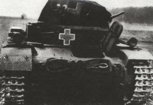 An example of a Panzer II with the yellow cross with a white outline