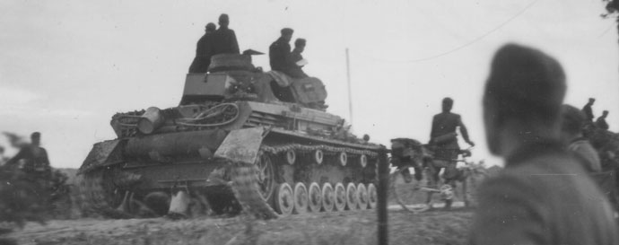 Panzer IV D moving along a road