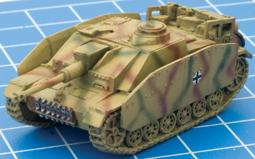 Painted and camouflaged StuG ready for masking