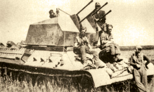 Example of the actual T-34 with Quad 2cm
