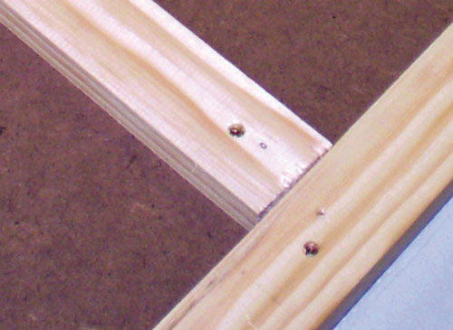 Use Liquid Nails and screws to secure your frame