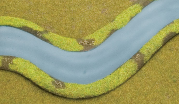 River Section with Contrasting Static Grass