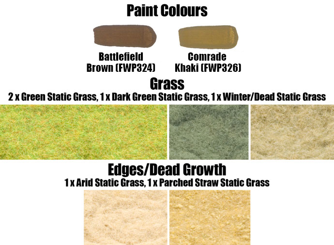 Paint Colours and Flock Used on the Rocky Hill