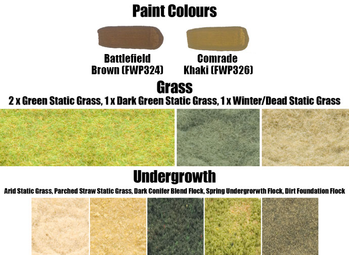 Paint Colours and Flock Used on the Woods