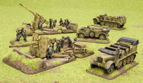 8.8cm FlaK36 guns on scenic resin bases