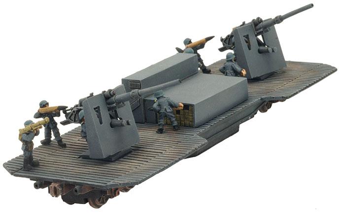 Twin 8.8cm FlaK37 Railway Car (GBX86)