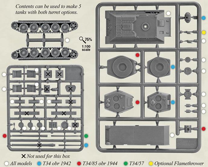 T-34 plastic sprue contents