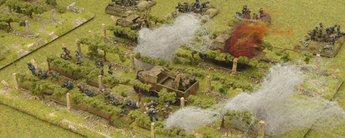 The American artillery continues to soften up the German positions.