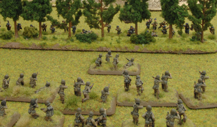 The Rifle platoon applies pressure to the German right flank.