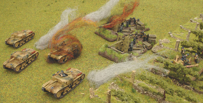 The Semoventes pay the price for being caught out in the open.