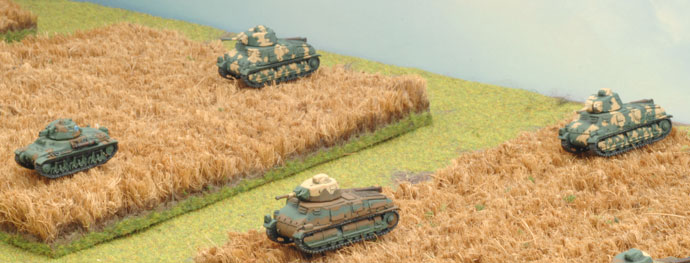The Somua platoon form up in the wheatfields