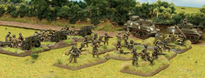Field Artillery Battery, Light Tank Platoon, Rifle Platoon and objective