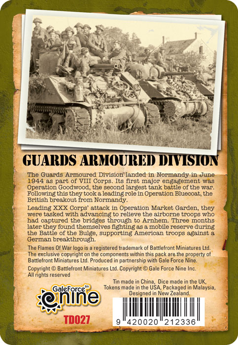 Guards Armoured Division Tin Back