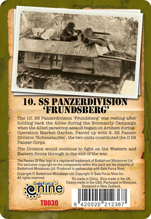10. SS-Panzerdivision 'Frundsberg' Gaming Set Tin Back (TD030)