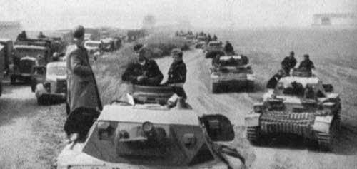 Panzer halt during a march
