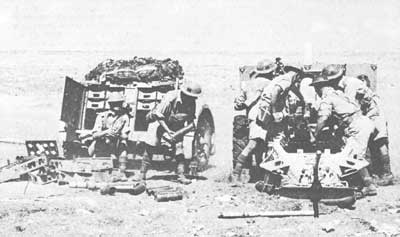 25-pdr and ammunition trailer in North Africa