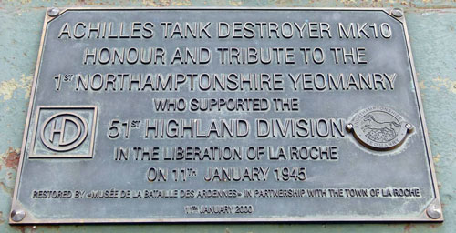 The commemorative plaque on the front of the Tank Destroyer