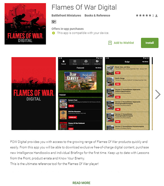 Using The Flames Of War Digital App